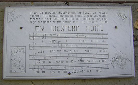 plaque with lyrics to Home on the Range