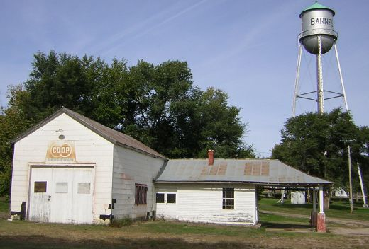 Barnes - old gas station, water tower