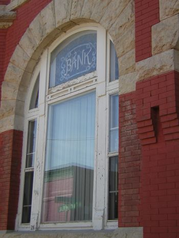 Farmer's State Bank window - Mankato