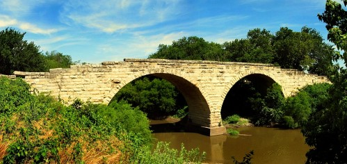 Stone arch bridge near Clements, Kansas